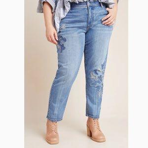 Pilcro High-Rise Embroidered Slim Boyfriend Jeans